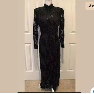 Vintage Victor Costa Gown 1980's 80's Dress Med